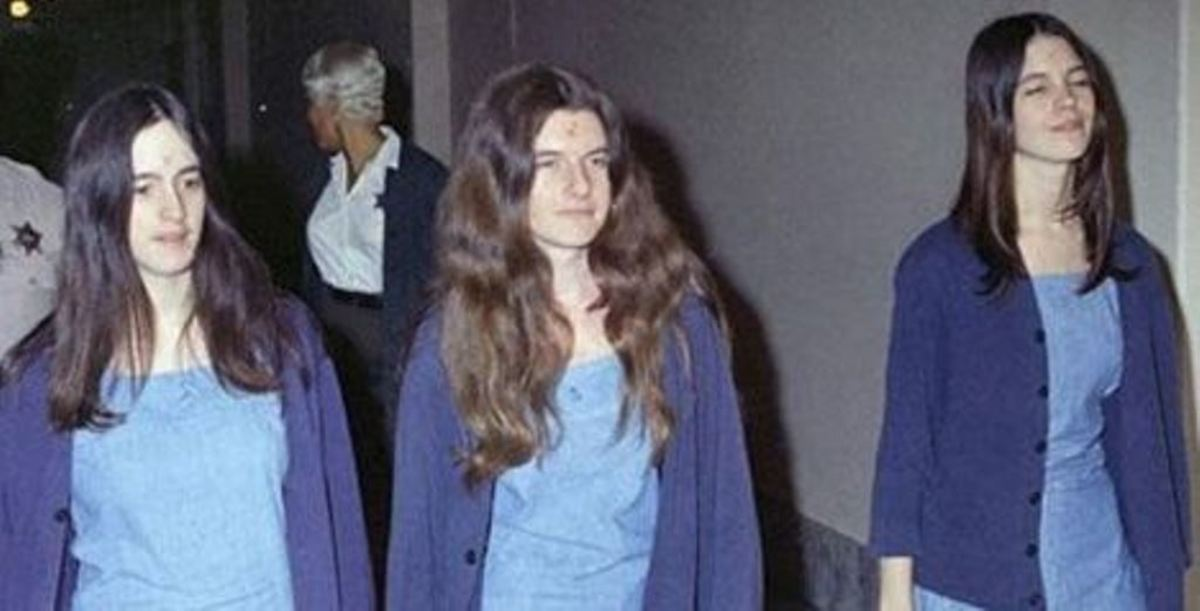 L-R: Susan Atkins, Patrica Krenwinkel and Leslie Van Houten.