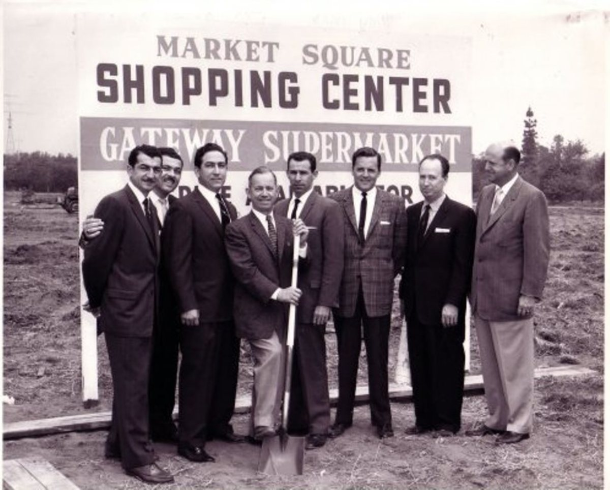 Leno, third from left, at the opening of a new supermarket, 1961.