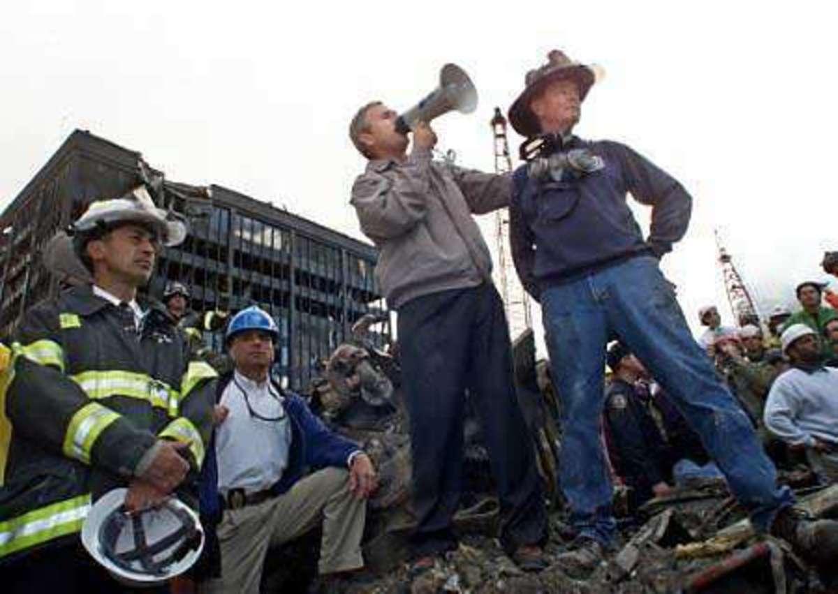 Bush at Ground Zero after 9/11
