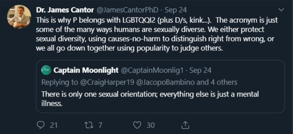 James Cantor is an academic pushing hard for the legalisation of pedophilia. He has essentially taken up the old PIE torch previously held aloft by Peter Tatchell and put a pseudo-psychological spin to it.
