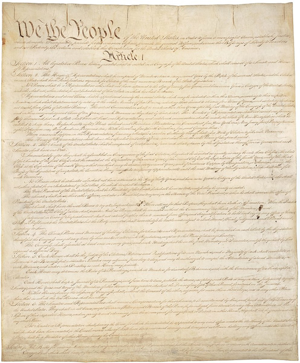 First page of the United States Constitution (original).