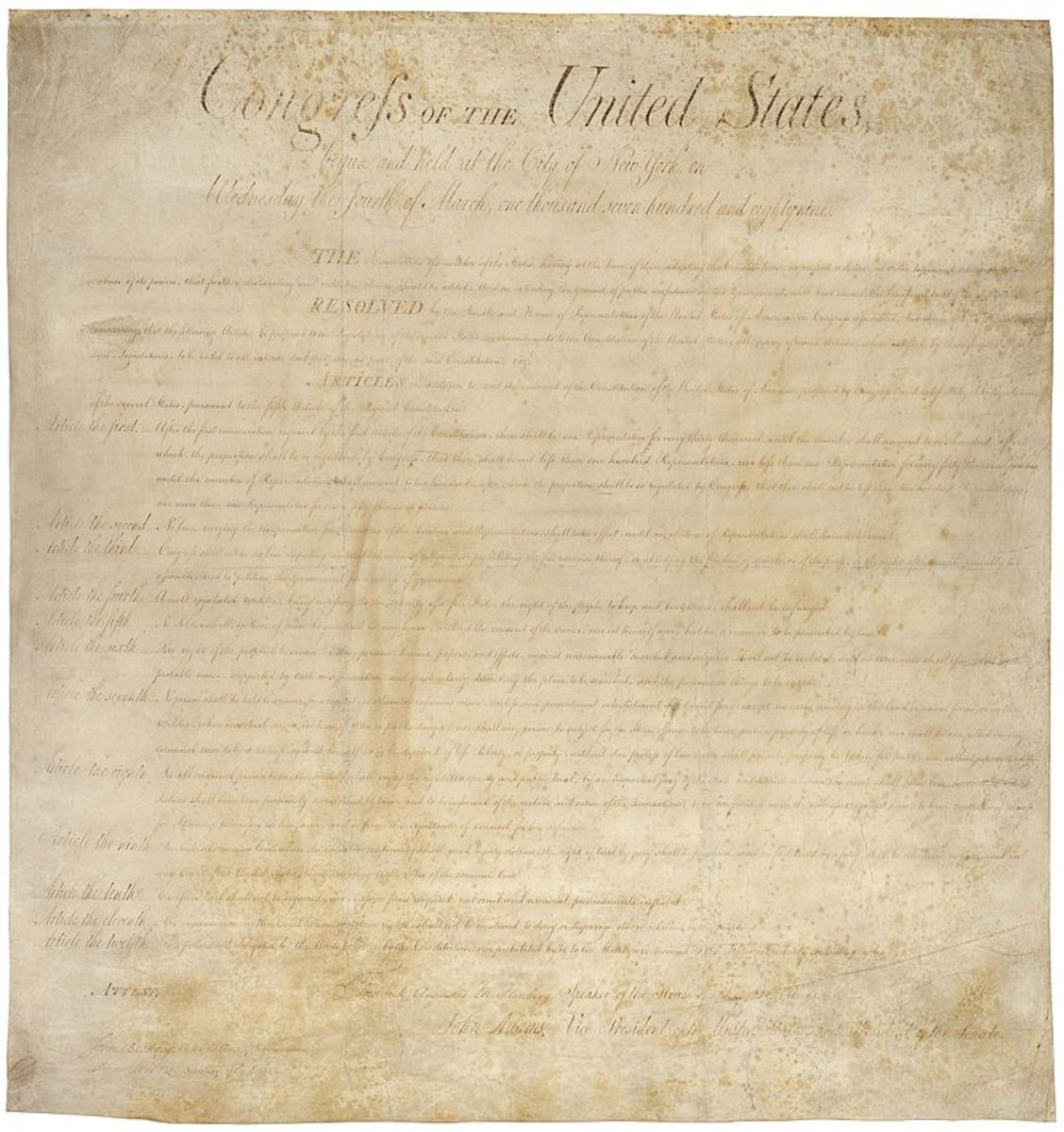 Original copy of the Bill of Rights.
