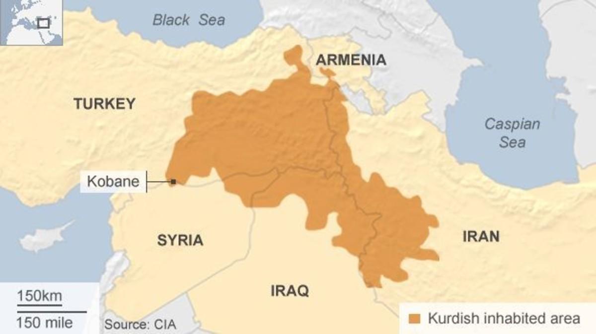 A map of the Kurdish inhabited areas, which the Kurds call Kurdistan.
