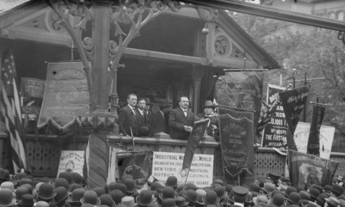 James Connolly addressing an International Workers Day rally, Union Sq, New York.