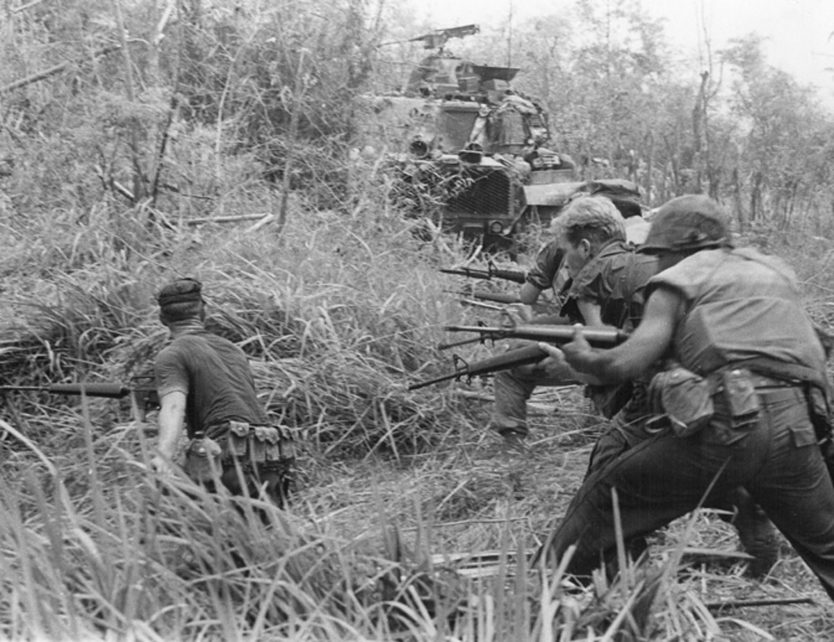 "U.S. Marines of ""G"" Company, 2nd Battalion, 7th Marines in action during Operation Allen Brook in South Vietnam, 1968"