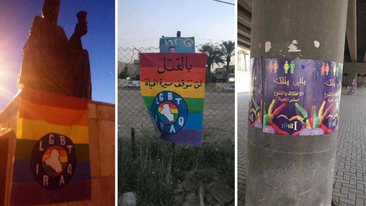 Pro-LGBTQI+ posters hung around the Iraqi capital in Baghdad in support of the community.