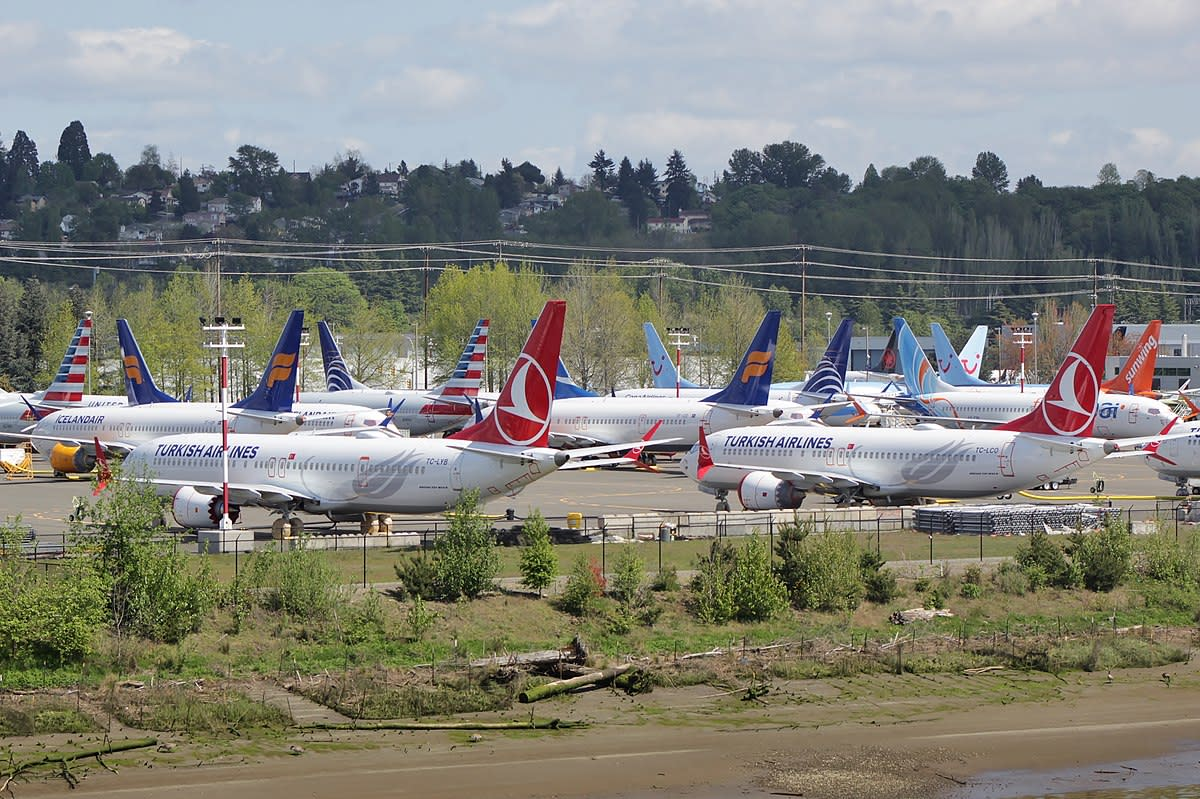 A few of the hundreds of grounded 737 Max's.