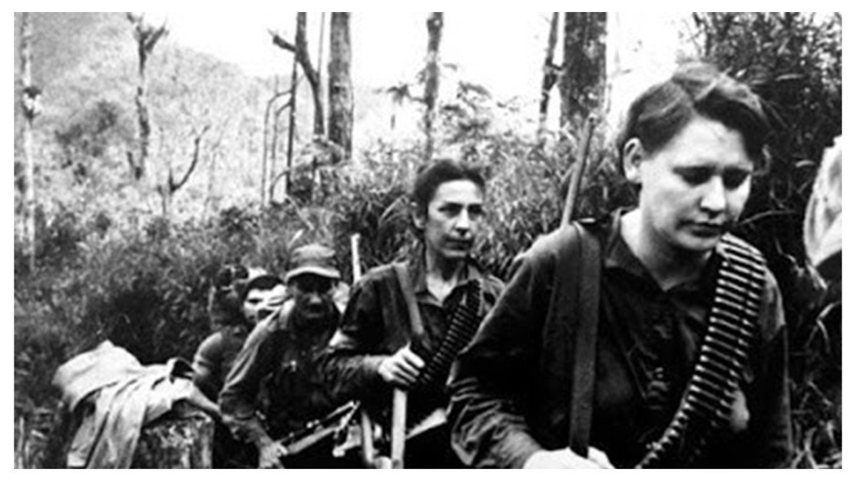 Celia Sanchez-second from front became the de-facto second in command after Fidel Castro in Cuba.