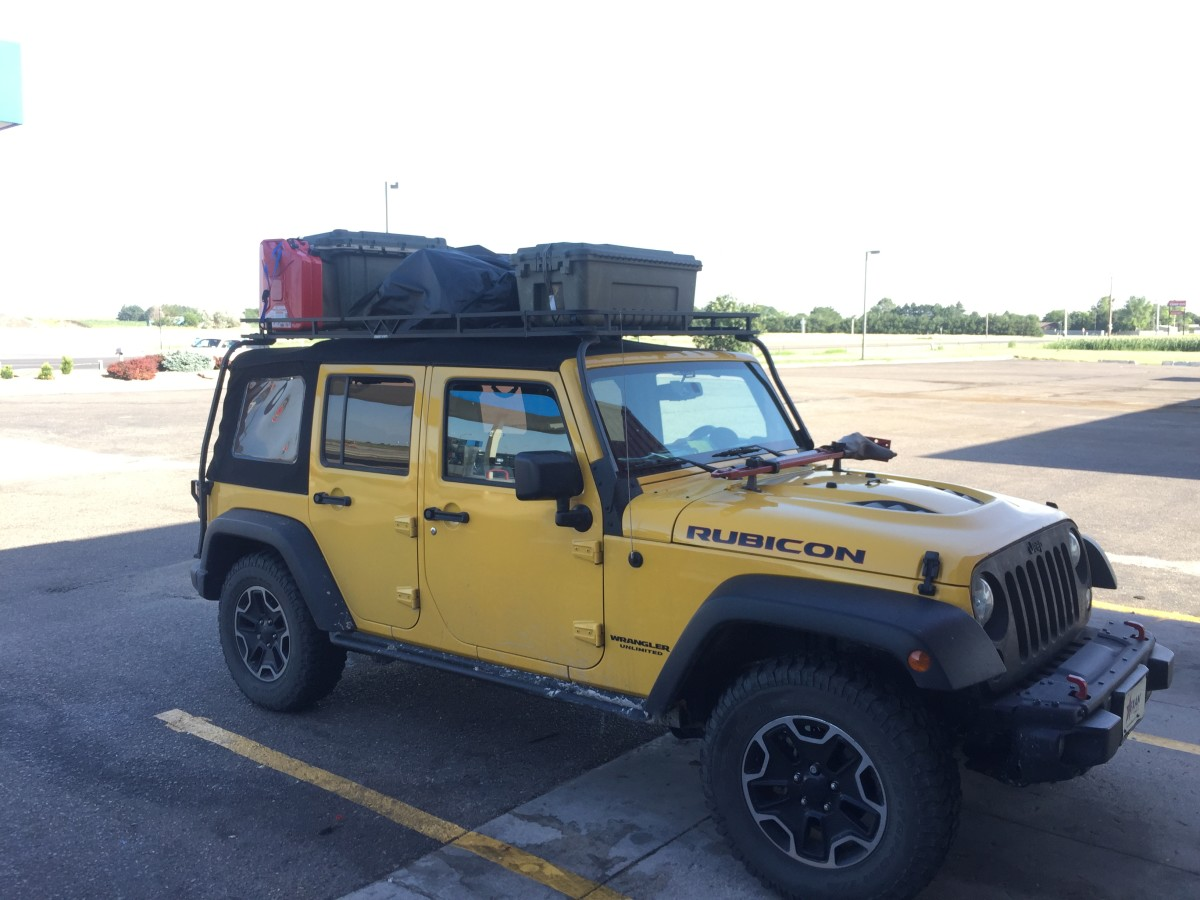 Fully loaded Jeep returning to the east coast.