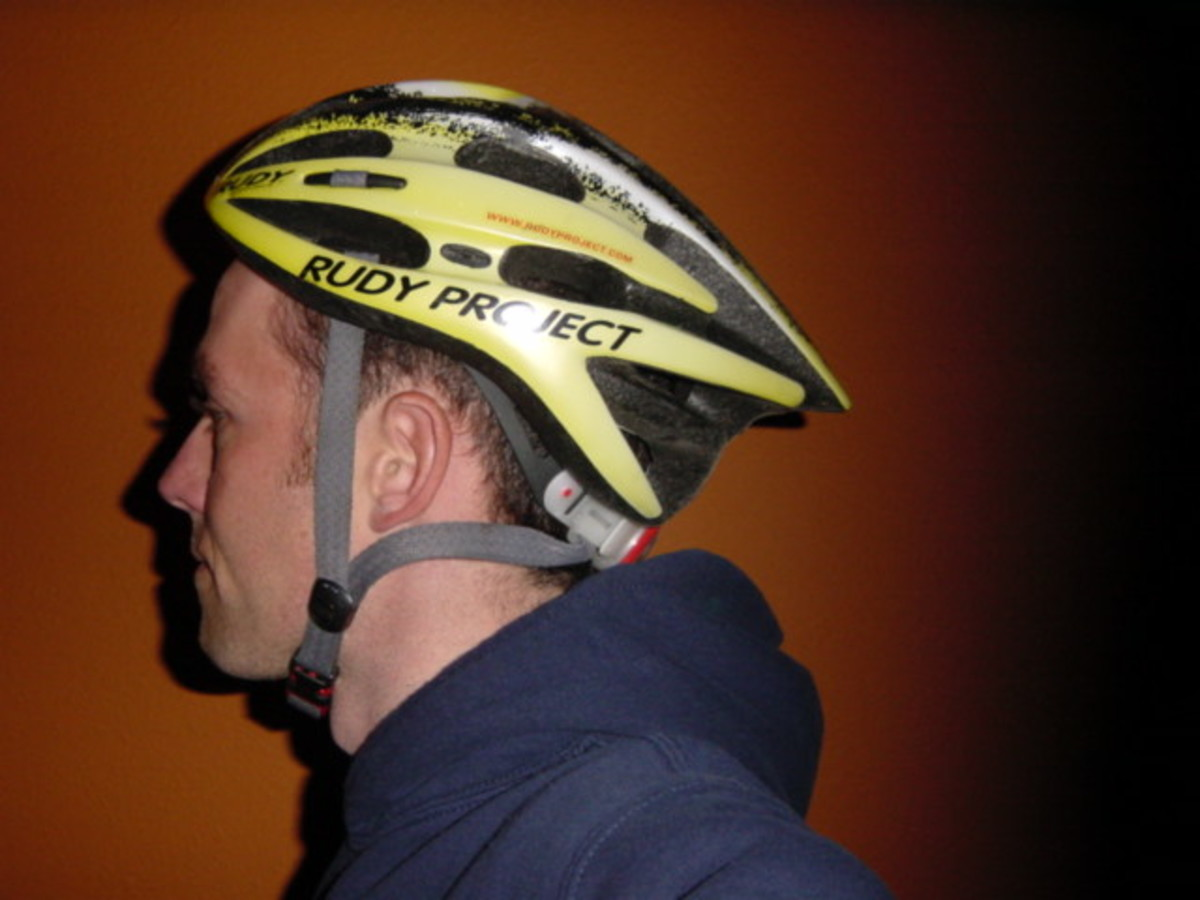 This helmet is too far back exposing the forehead to impact. The straps are also not adjusted well.