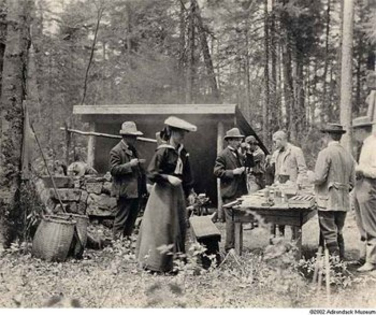 Victorian campers and a lean-to