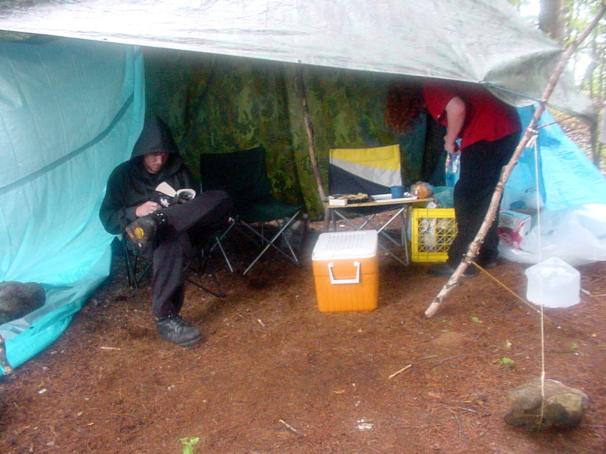 Keep food area away from tents and provide shelter from the elements