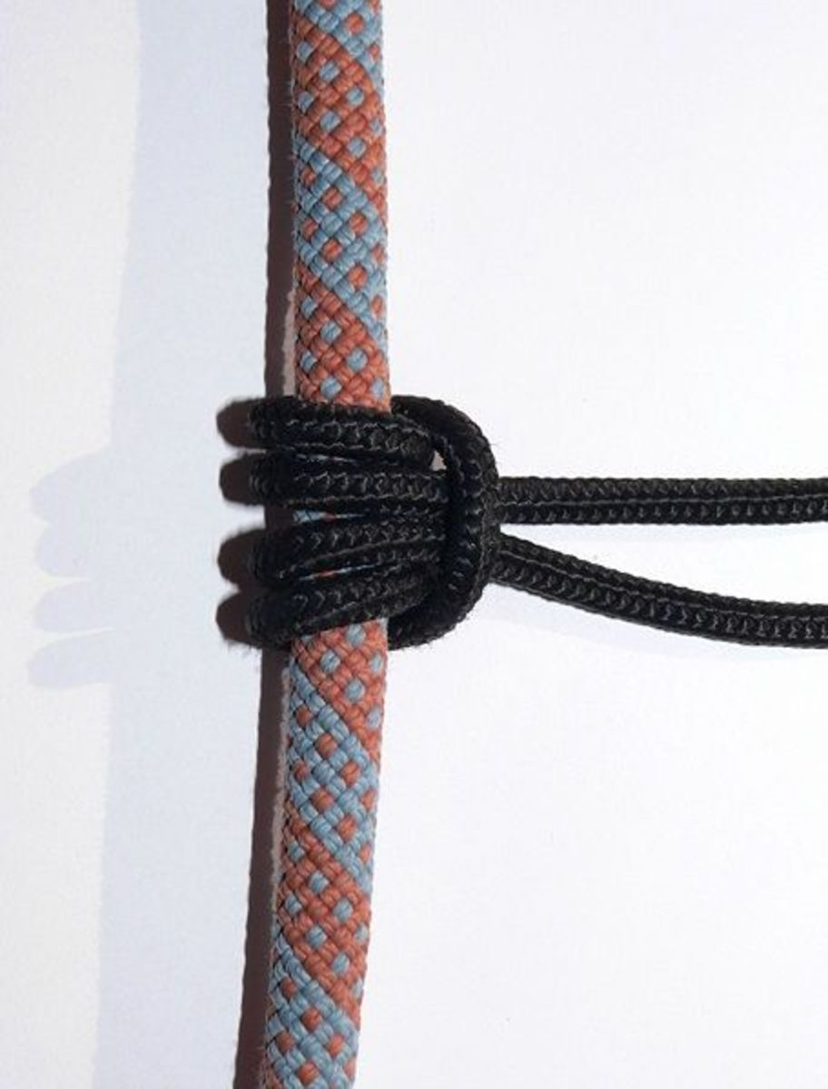 A Prusik Knot.  This prusik is wrapped twice, which is okay for a personal load. A rescue load requires three wraps.