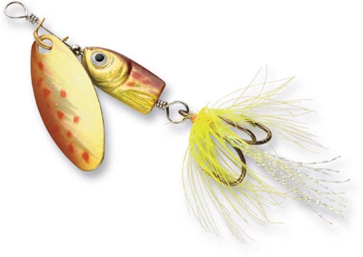 Hooks dressed with feathers and mylar, like the one seen above, add extra motion and flash to your spinner. Experiment with tying your own dressed spinners!