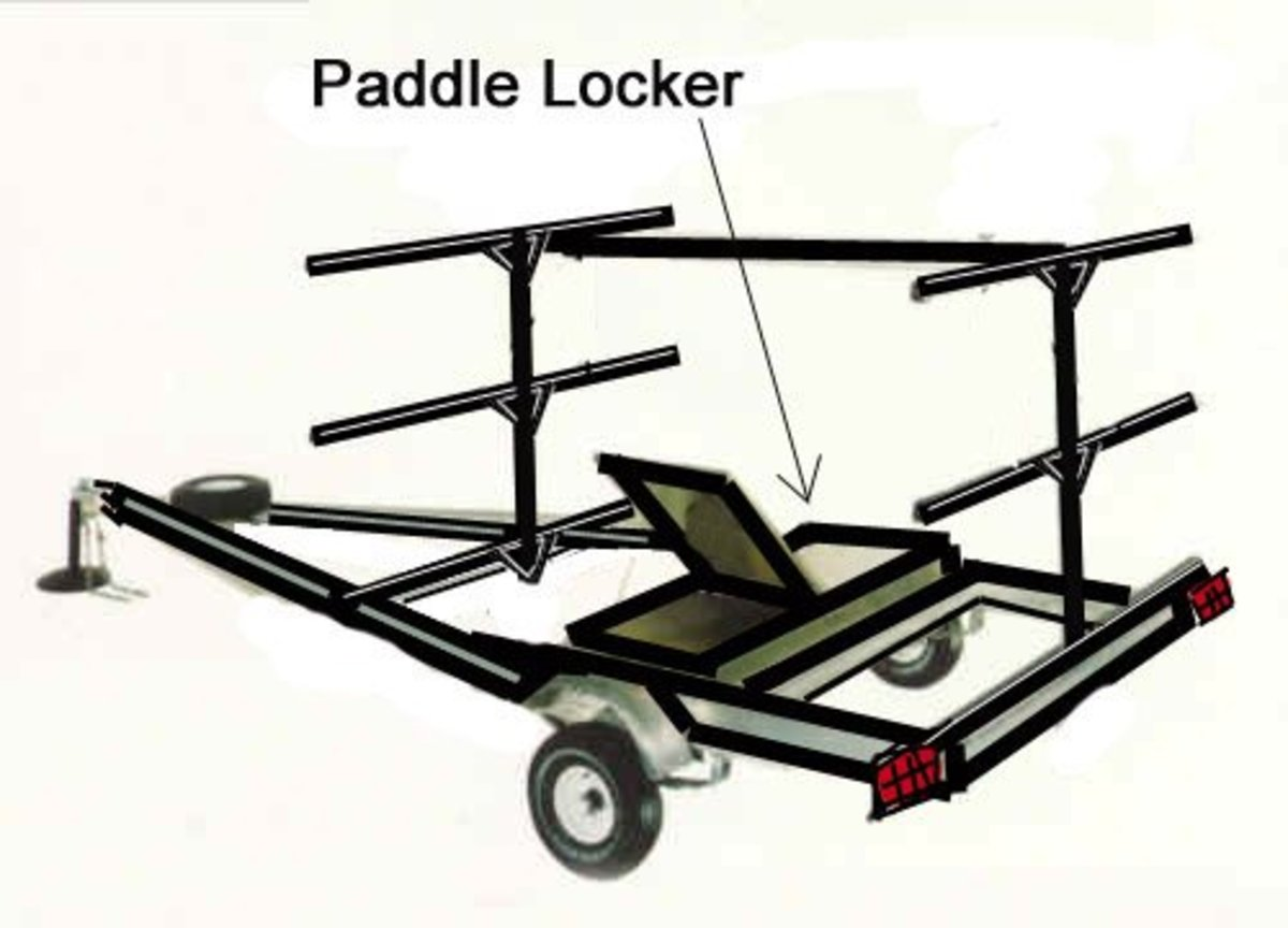 Build a wooden equipment locker about 6 inches deep and sized to fit inside the trailer frame. Bolt it low so it is below the bottom cross member.