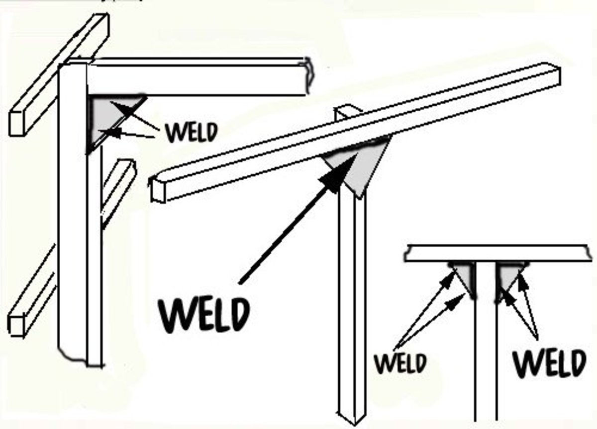 Weld the triangular gusset plates between the cross members and uprights and between the uprights and ridge support as shown in the diagram.