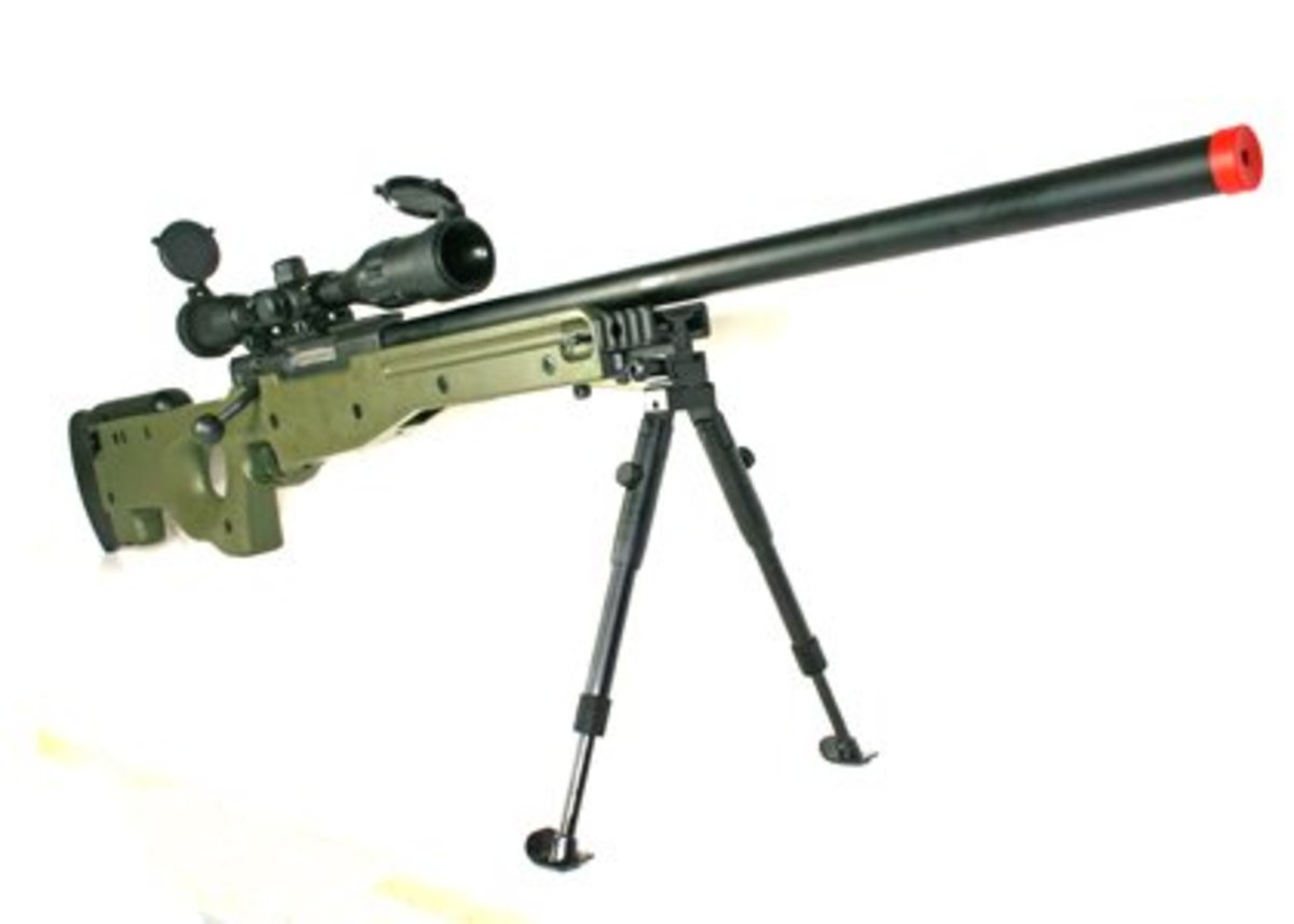 The sad truth is, Airsoft sniping is not all it's hyped up to be. It requires training. This L96 Sniper rifle by UTG is heavy—12 pounds. I own one of these.