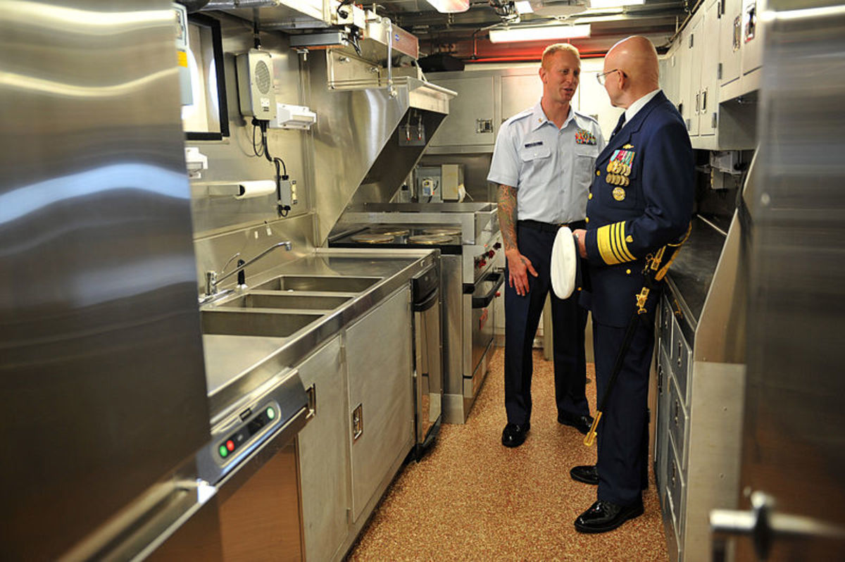 This galley aboard a Coast Guard Cutter is typical of those on a larger boat, while those on cruise ships can rival the huge kitchens of a 5-star land-based restaurant.