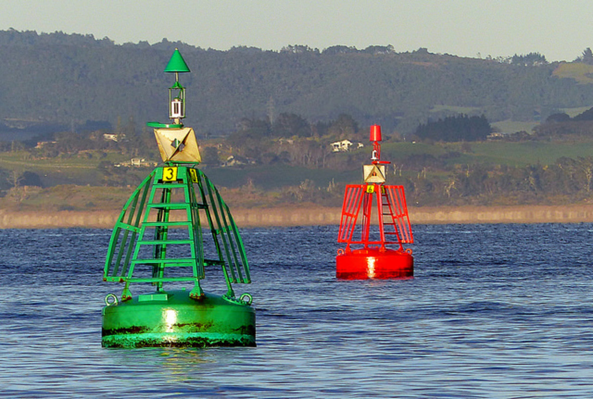 "Channel marker buoys; remember the three Rs""  Red to Right Returning"