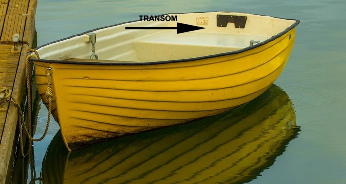 The transom is the rear end of a small boat.  It's where you'd hang the outboard motor.