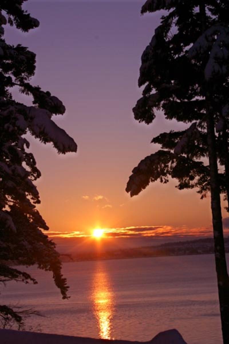Peaceful sunrise at Oak Harbor