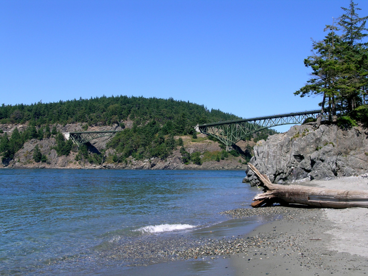 Deception pass bridge as seen from the state park beach area below. Great place to picnic and beach comb