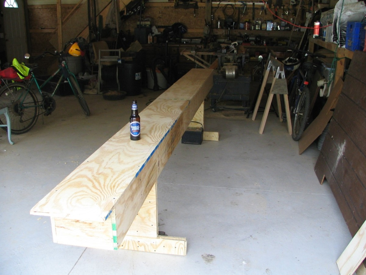 The strongback:  a platform to build the canoe on
