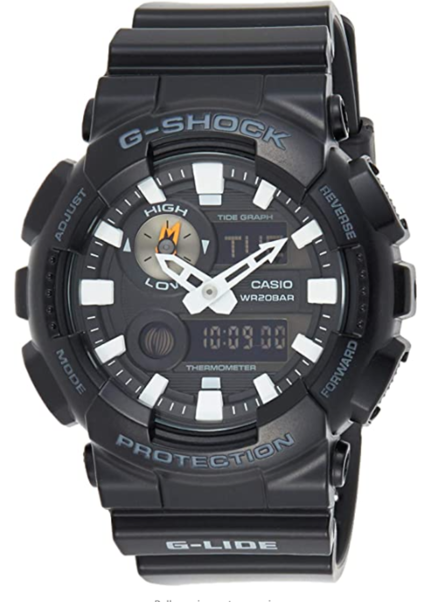 G-shock analogue display, watch with tide state dial