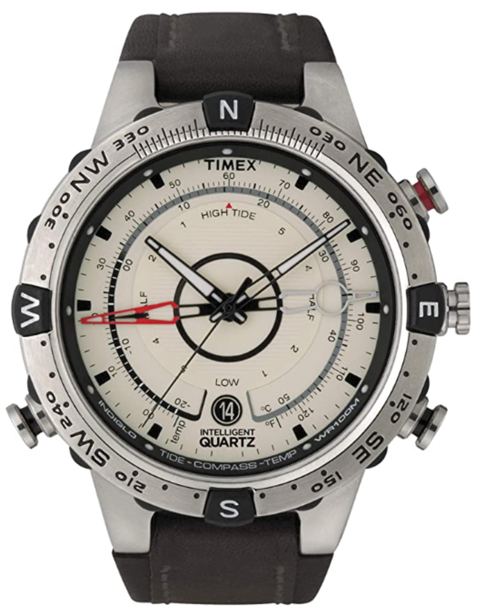 Timex tide watch in silver case. Black is also available.