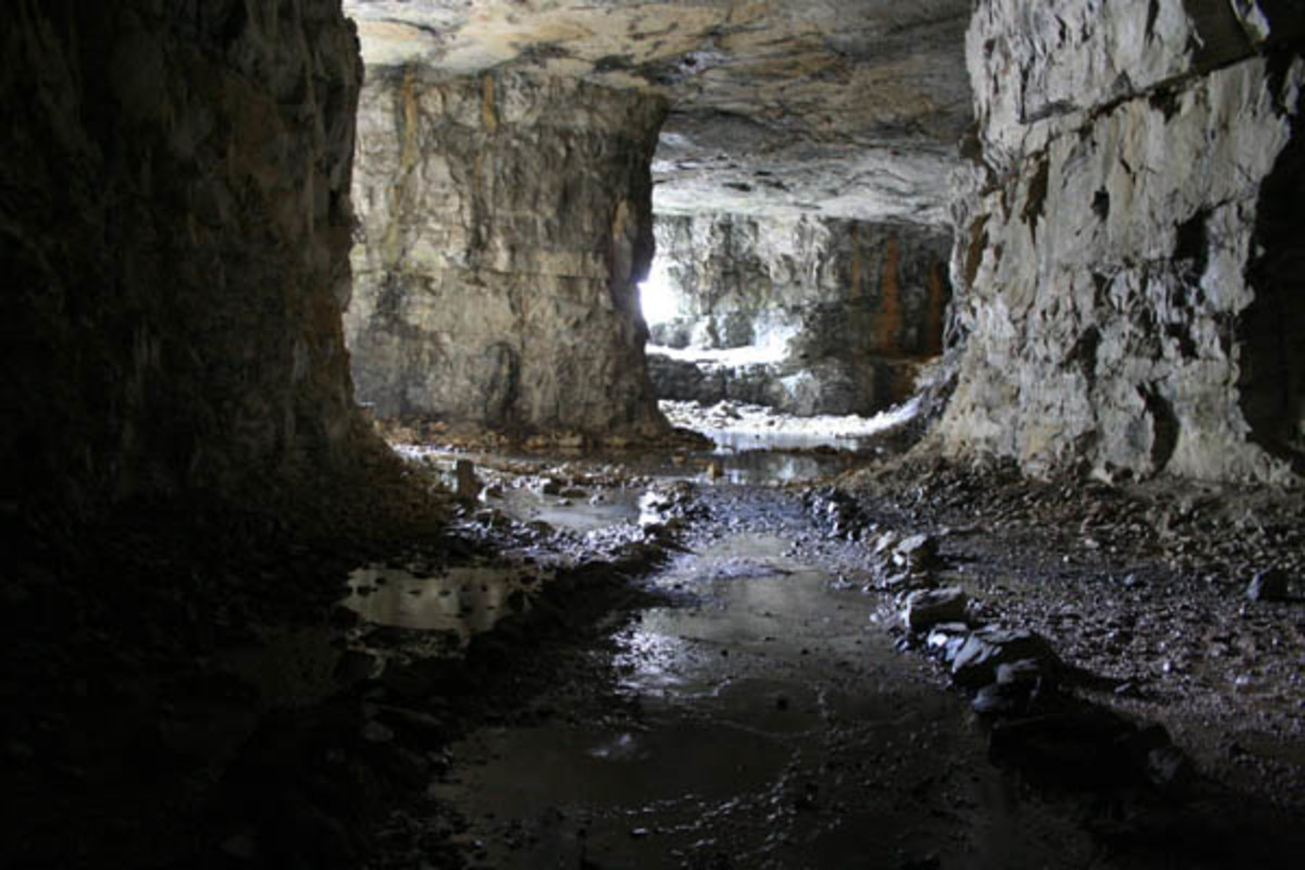 Inside Three Caves - looking down a path through the Room and Pillar mine