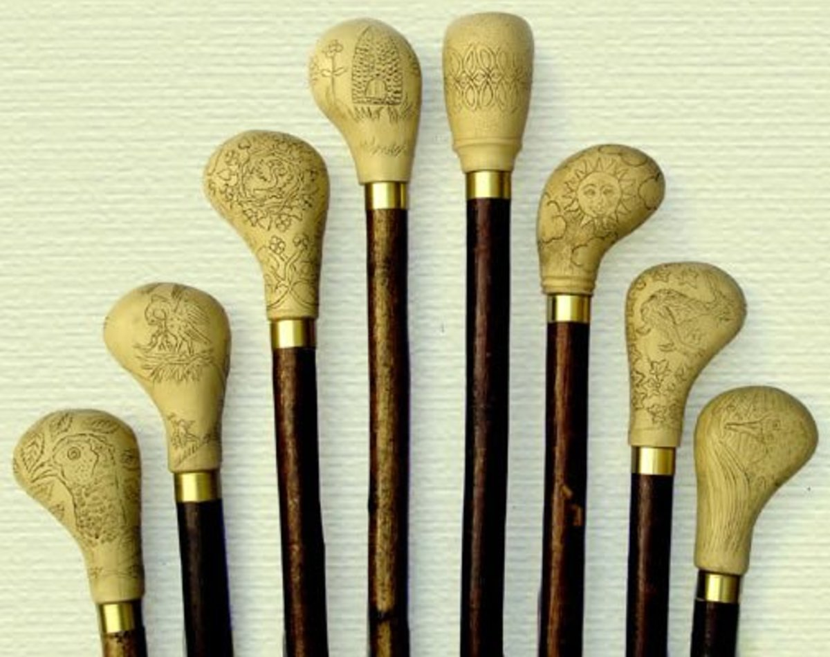 Walking stick handles made of alabaster