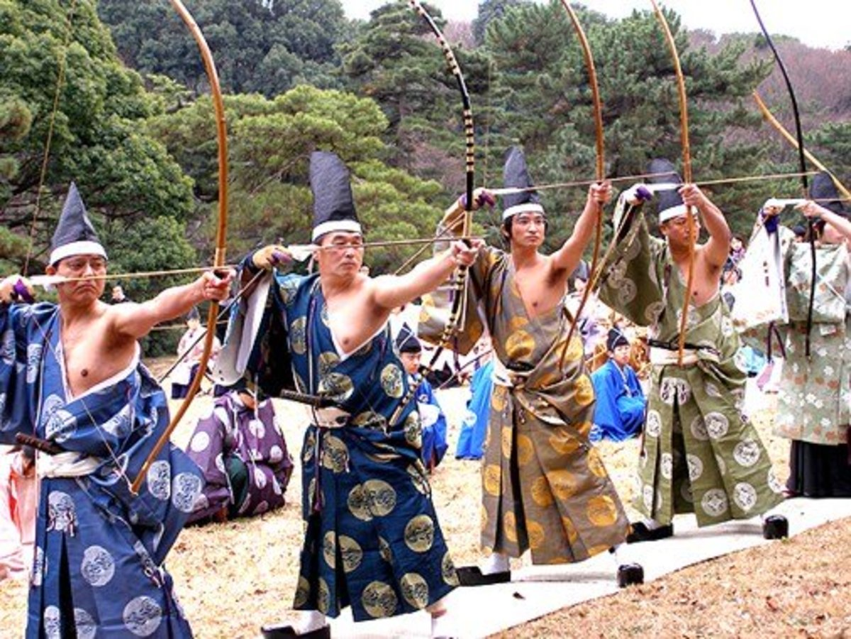 Japanese archers practice a ritual of Kyudo - an ancient form of archery which uses the philosophy of Zen to quiet the mind and balance the spirit.