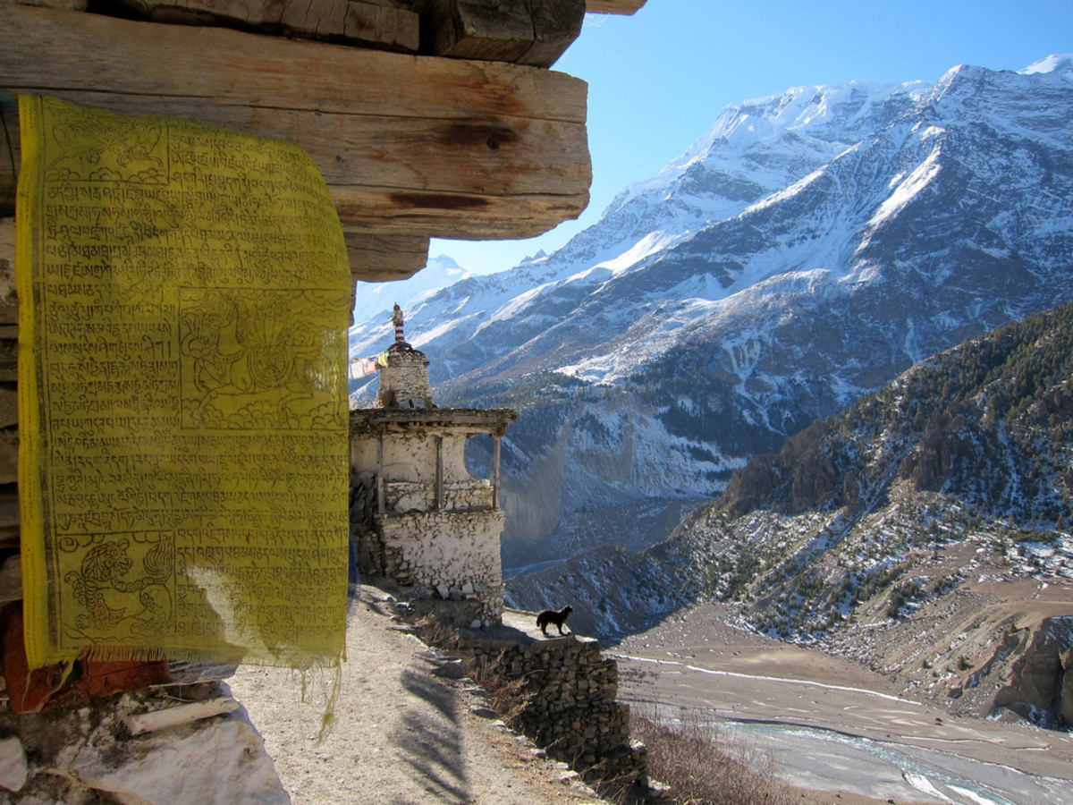 Buddhist prayer flag on the Annapurna Circuit trek.