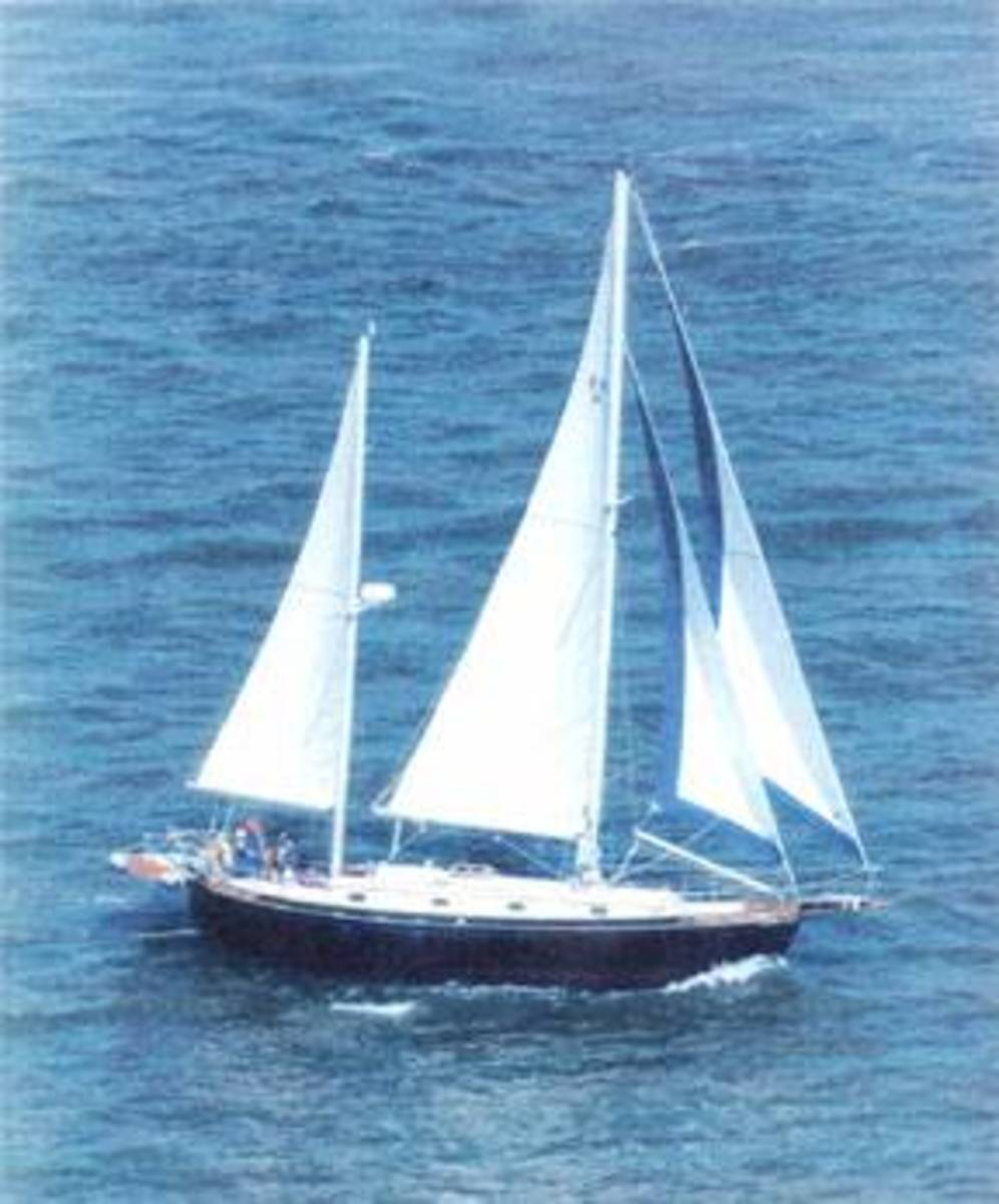 Note the second mast aft of the mainsail.  This ketch is also rigged as a cutter.