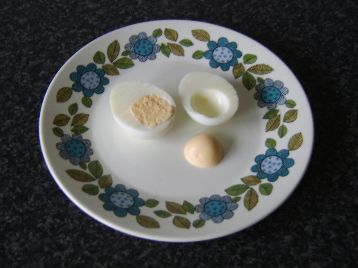 A hard boiled egg without the blue grey tinge around the yolk