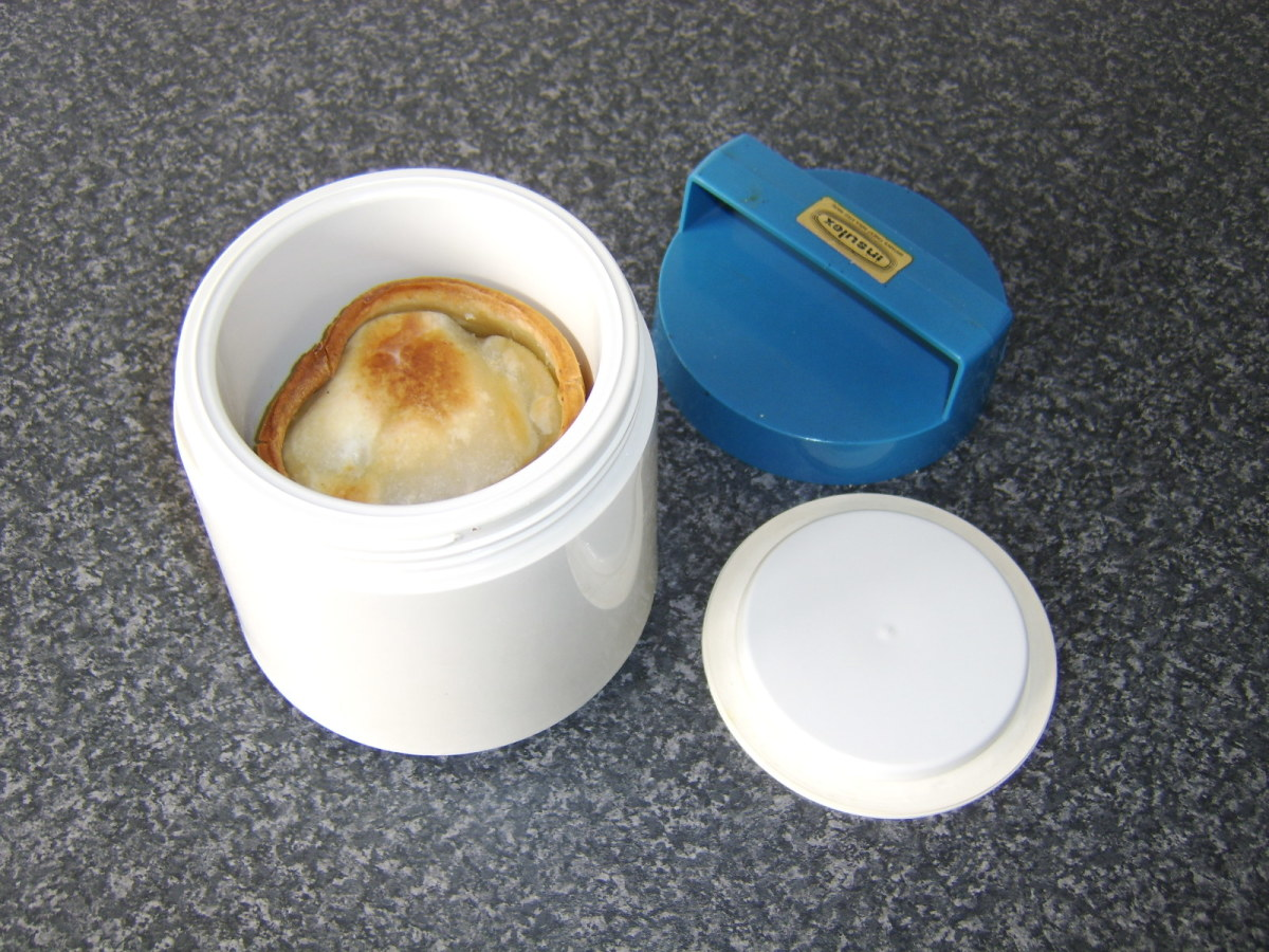 Hot pies fit snugly in the heated flask