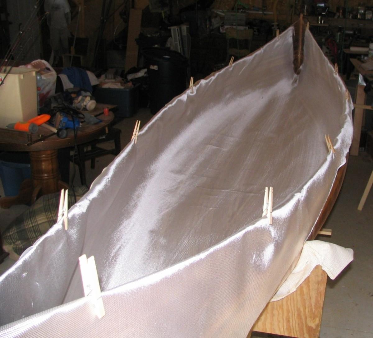 fiberglass cloth laid inside the hull