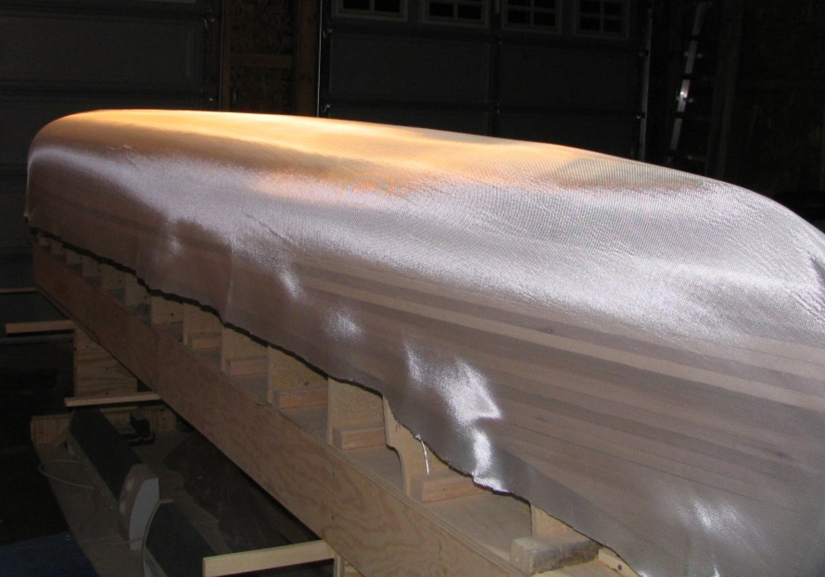 Fiberglass cloth laid over the hull