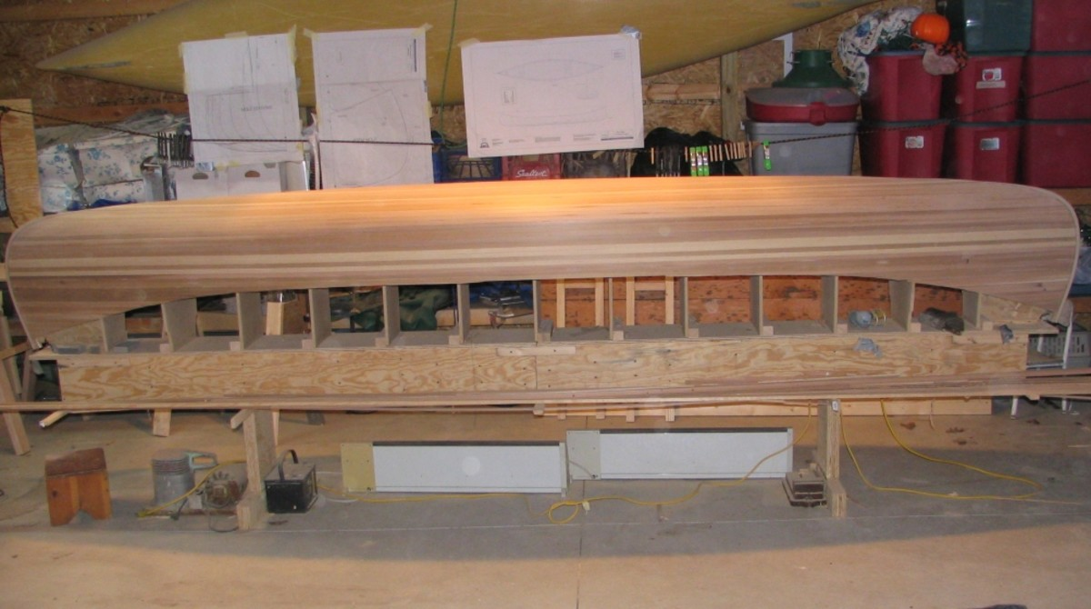 Starting to actually look like a cedar strip canoe.