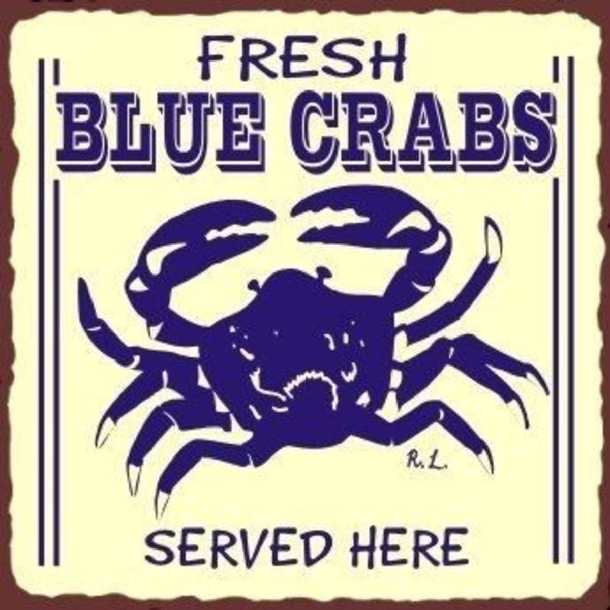 Blue Crab Vintage Metal Sign