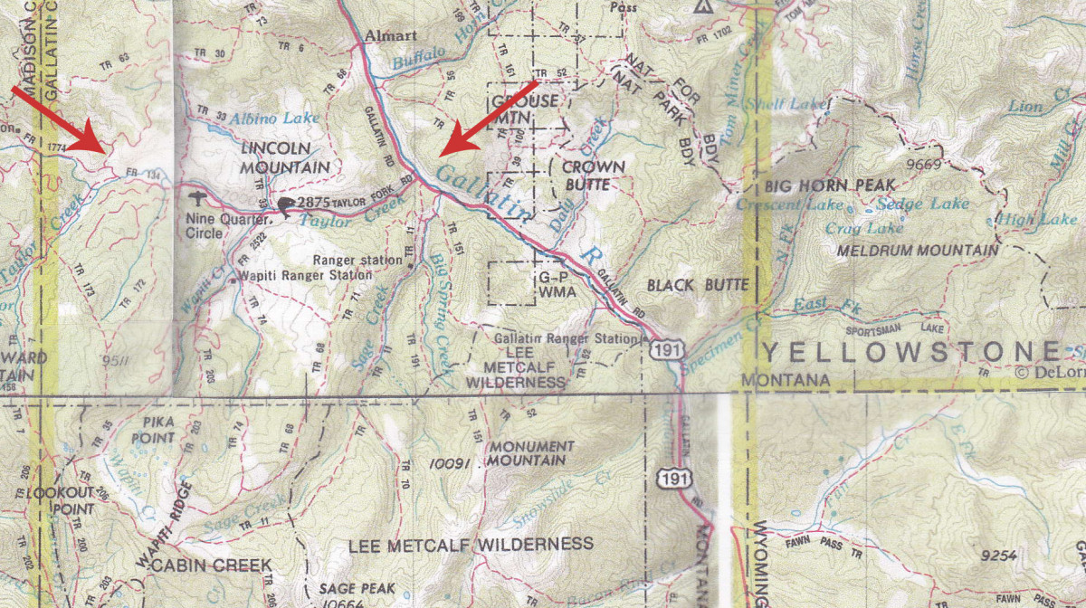 Taylor Fork Campsites in Gallatin National Forest (click to enlarge map)