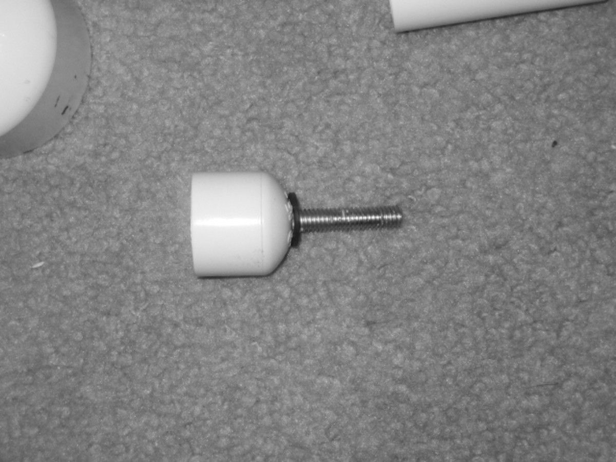 """Screw from the Test Plug inserted in the 3/4"""" Cap and epoxied in place."""