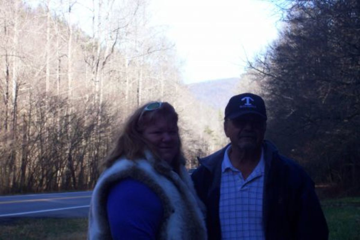 Hubby and I beside the Georgia end of the Appalachian Trail.