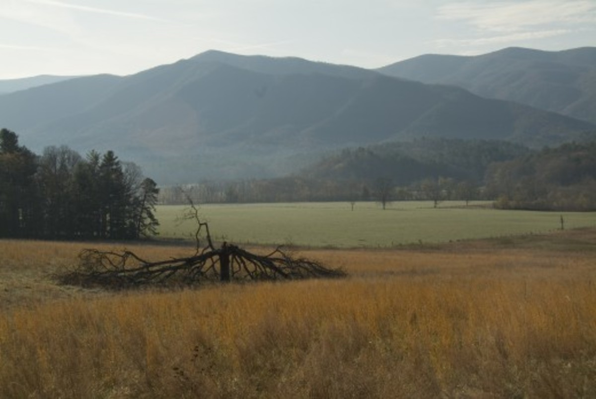 The Smoky Mountains are a sub-range of the Appalachians. This is Cades Cove, Tennessee.