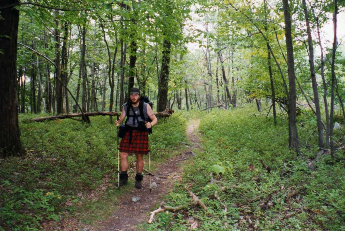 Heat rash is a problem for many thru hikers pushing out twenty-mile days under the hot sun.  I made this kilt out of polyester microfiber that I bought in a craft store in Massachusetts.  It took me about a week to sew in the pleats.