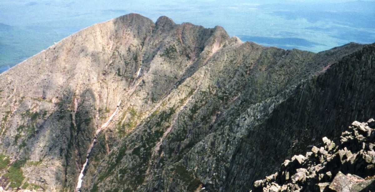 The 5,268' Mt Katahdin in Baxter State Park,  Maine is the northern terminus of the Appalachian Trail and an imposing mountain.