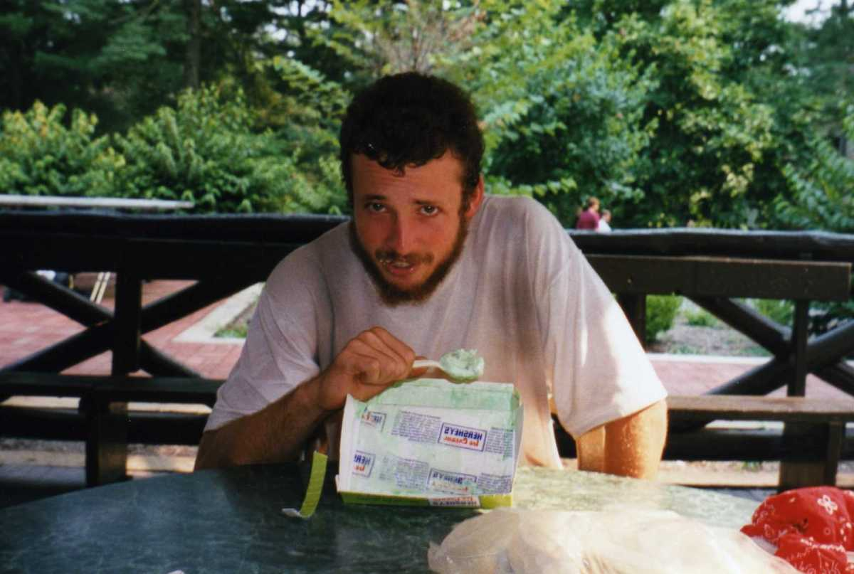 """Here is """"Crawdad"""" at Pine Grove Park in Pennsylvania undertaking the half-gallon challenge.  I ate a half-gallon of moose tracks for my challenge."""