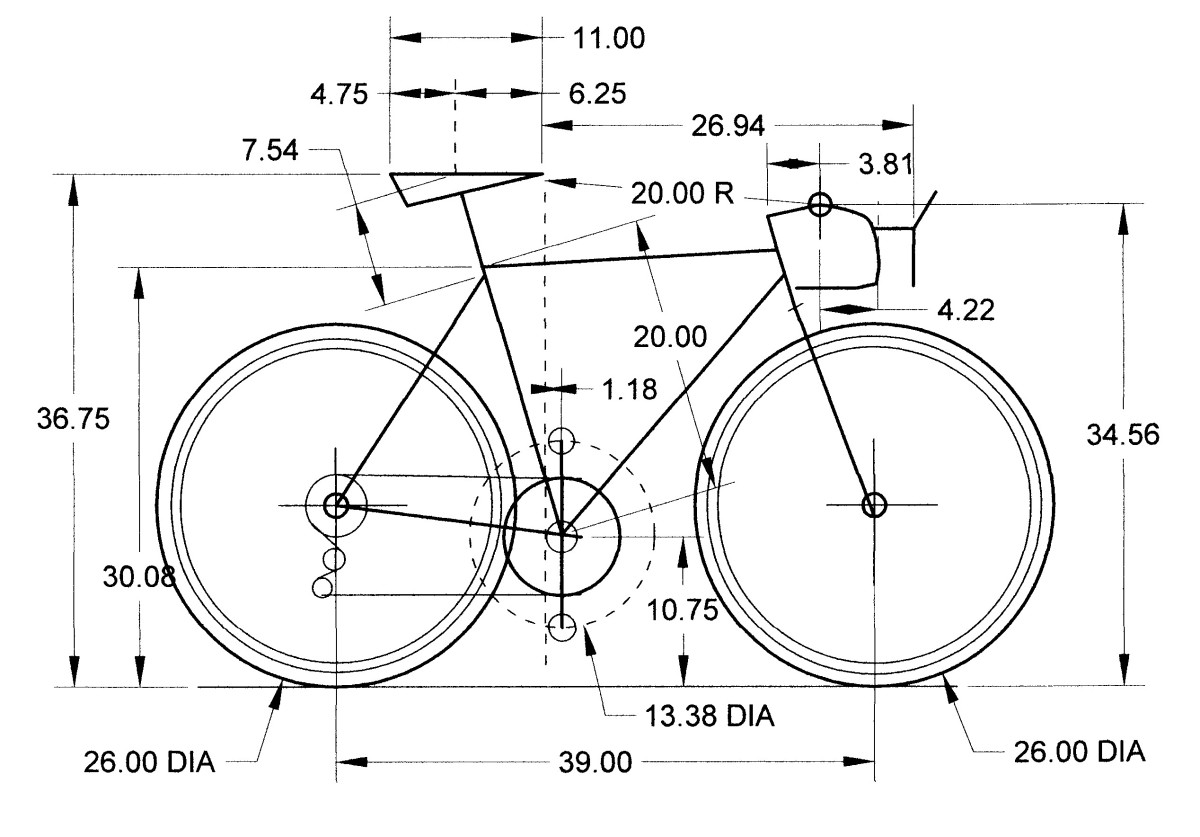 Computer Cad Drawing showing specs of the bike.