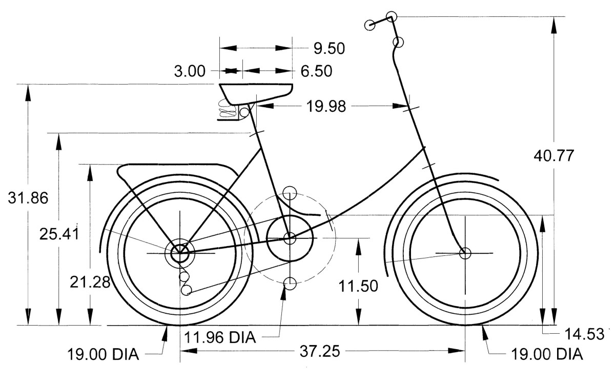 Computer Drawing on the Schwinn Folding Bike.