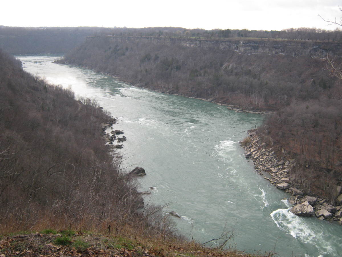 Looking south on the Niagara River Gorge from the Rim Trail near Devil's Hole State Park on a snowless December day.